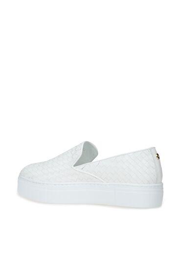 Beyaz Örgü Dokulu Kadın Deri Sneaker