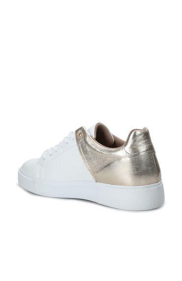 Beyaz Gold Kadın Deri Sneaker