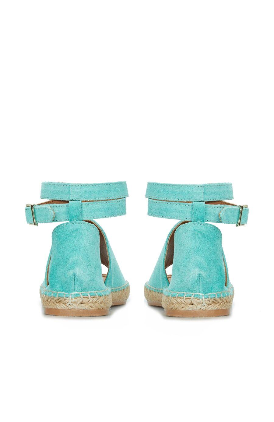 Kadın Mavi Hasır Tabanlı Sandalet