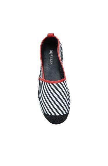 Kadın Siyah Beyaz Çizgili Hasır Tabanlı Ayakkabı