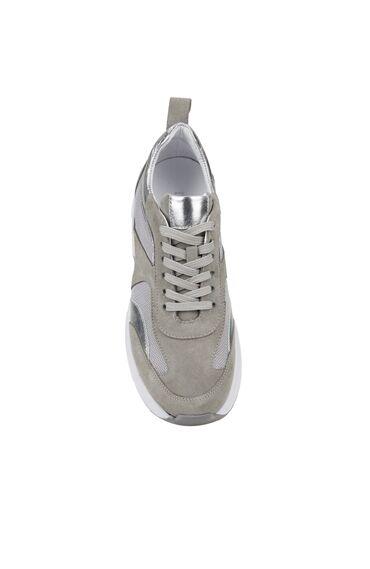Gri Logolu Garnili Kadın Süet Sneaker
