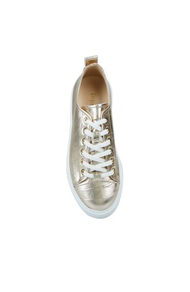 Kadın Gold Krokodil Dokulu Sneaker