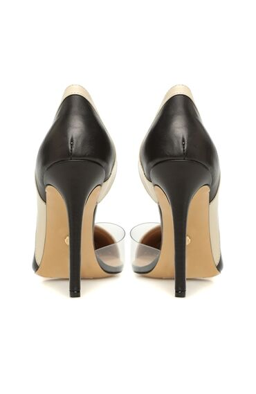 Kadın Bej Siyah Transparan Detaylı Deri Stiletto