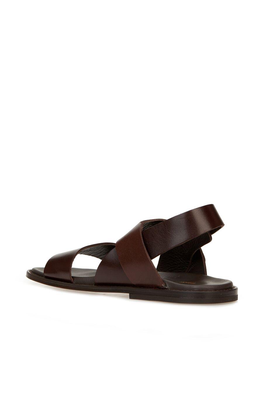 Kahverengi Kadın Deri Sandalet