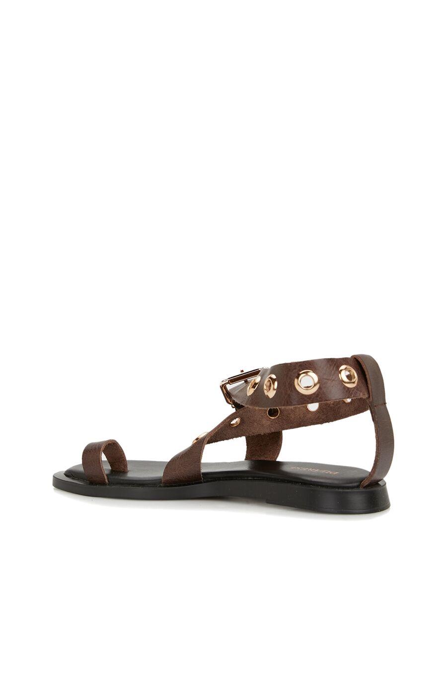 Kahverengi Kuş Gözü Detaylı Kadın Deri Sandalet