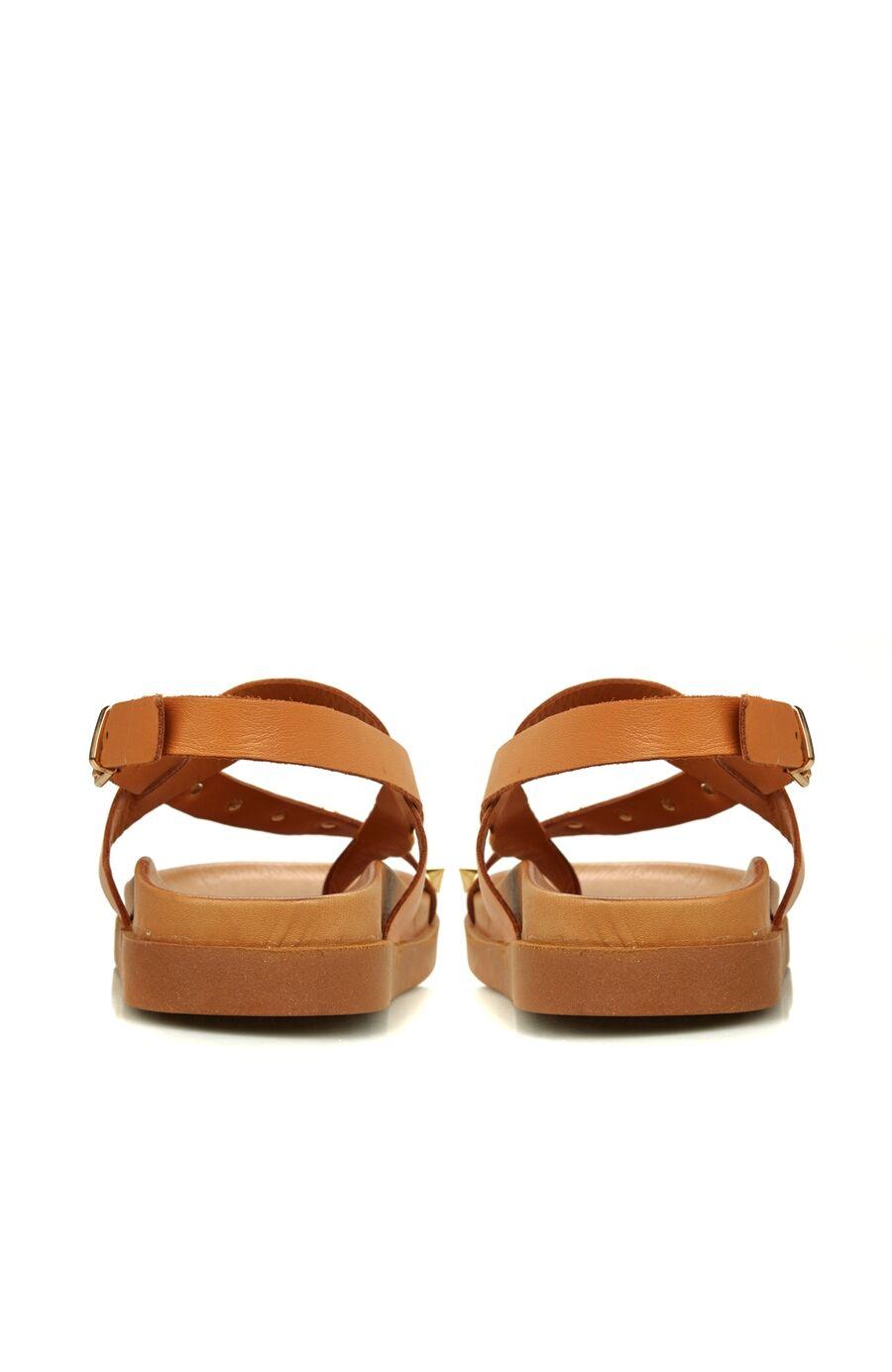 Taba Troklu Kadın Deri Sandalet