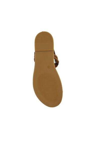 Kahverengi Halat İp Detaylı Kadın Deri Sandalet