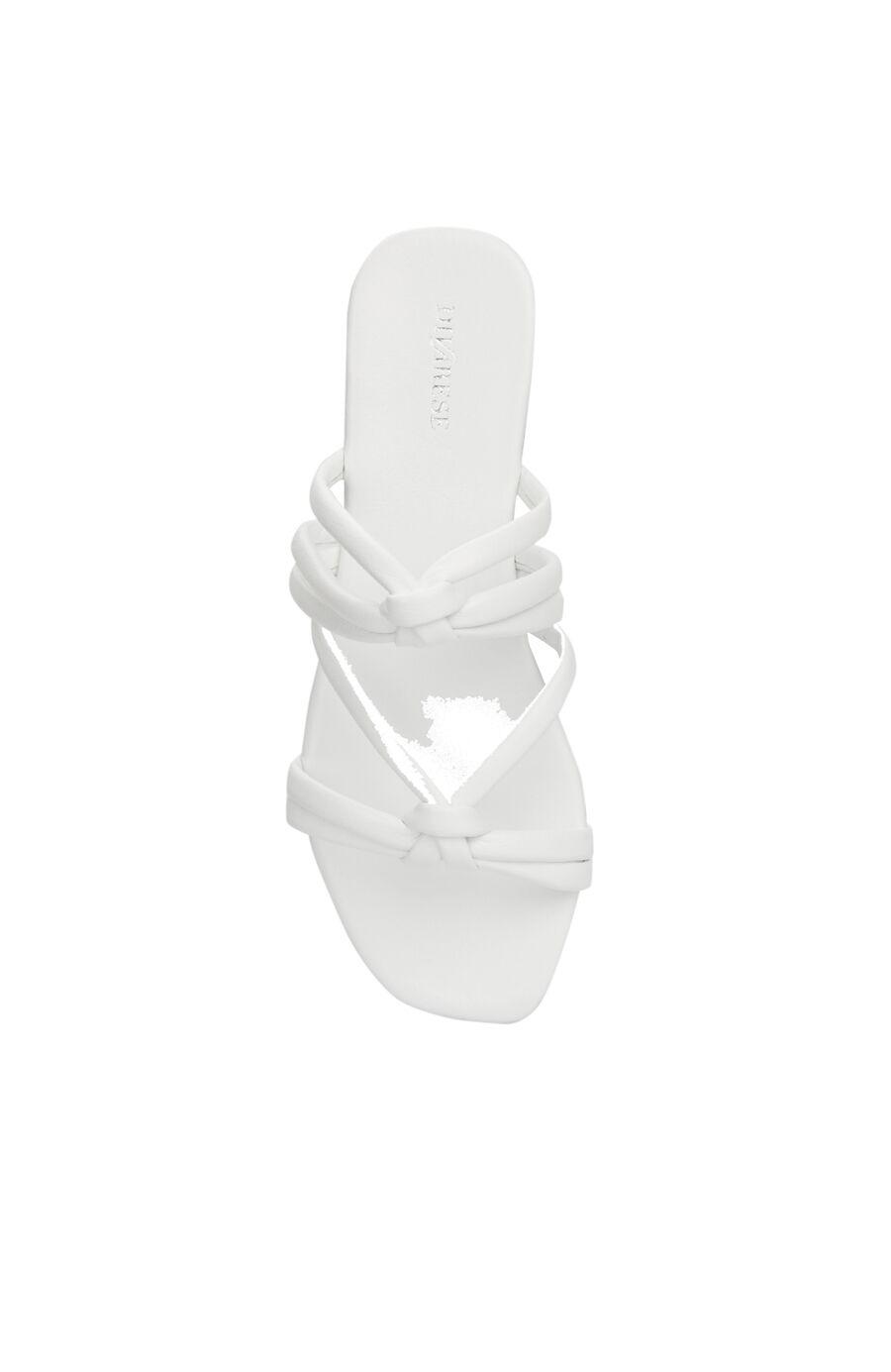 Beyaz Düğüm Detaylı Kadın Deri Terlik