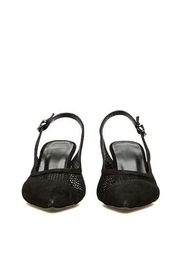 Kadın Siyah File Dokulu Deri Topuklu Ayakkabı
