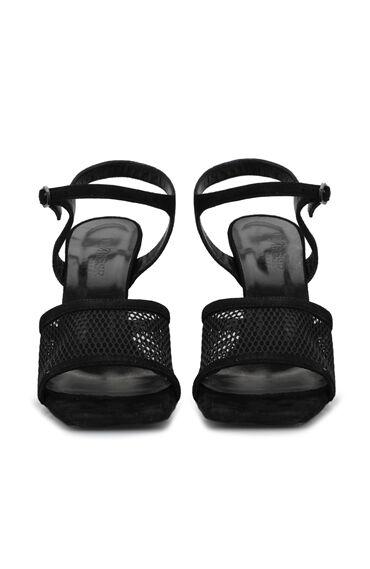 Siyah File Dokulu Kadın Deri Sandalet