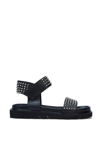 DIVARESE BLACK Siyah Troklu Kadın Deri Sandalet