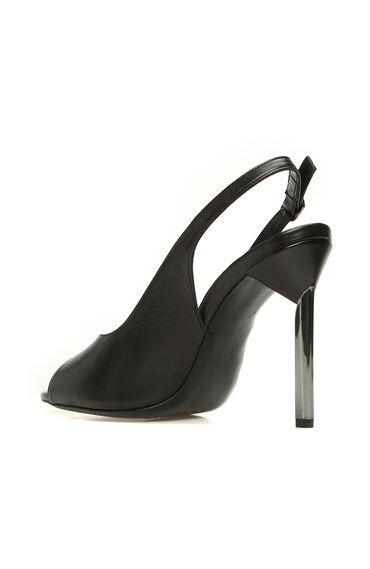 Siyah Deri Kadın Sandalet