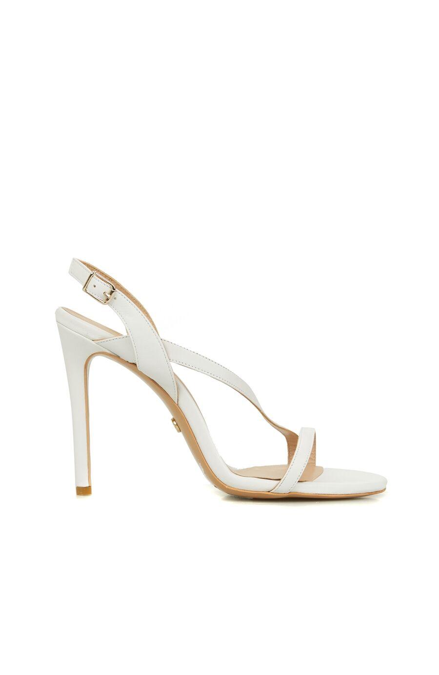 Kırık Beyaz Topuklu Deri Sandalet