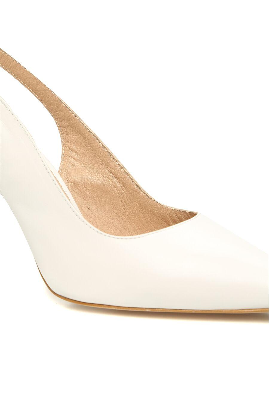Krem Kadın Deri Topuklu Ayakkabı