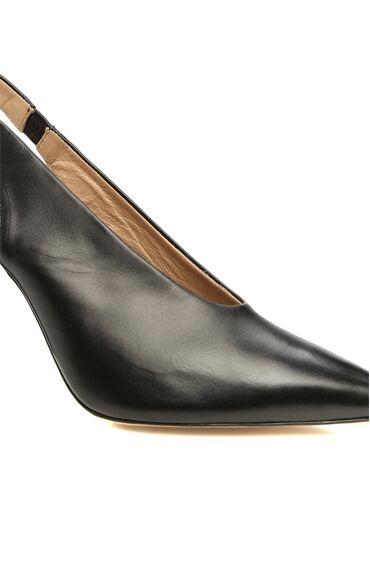 Kadın Siyah Deri Topuklu Ayakkabı