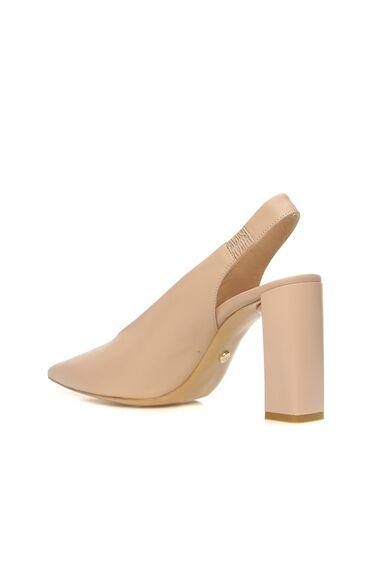 Kadın Nude Deri Topuklu Ayakkabı