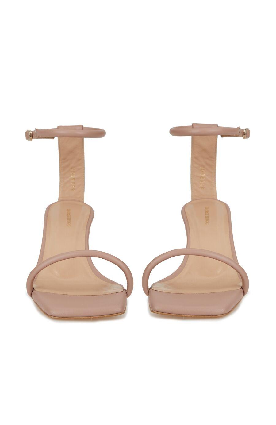Bej İnce Bantlı Kadın Sandalet