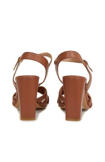 Taba Puff Bantlı Kadın Deri Sandalet