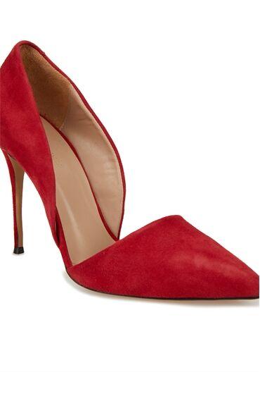 Kırmızı Süet Kadın Stiletto