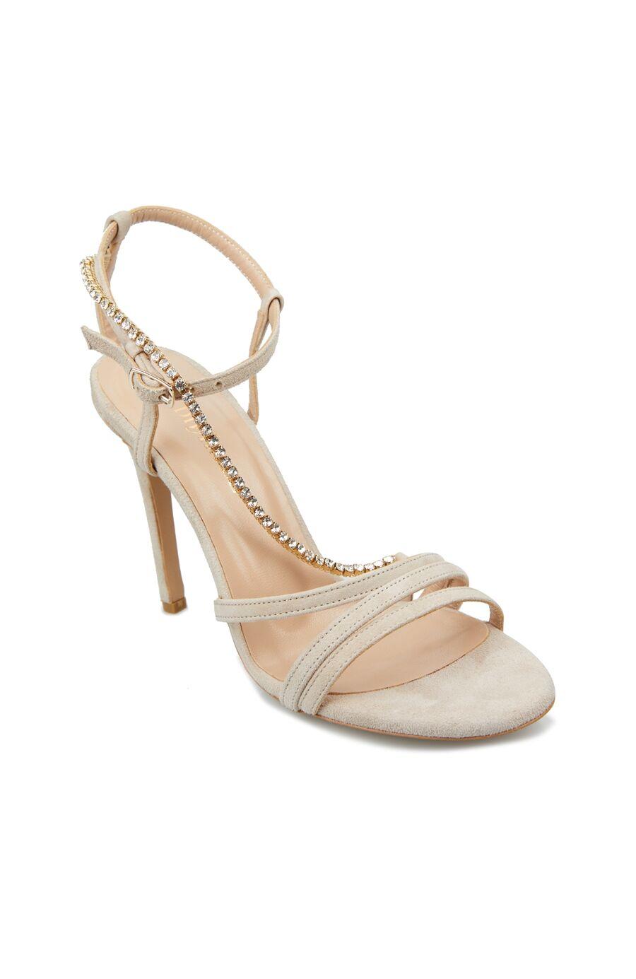 Vizon Taşlı Bantlı Kadın Süet Sandalet
