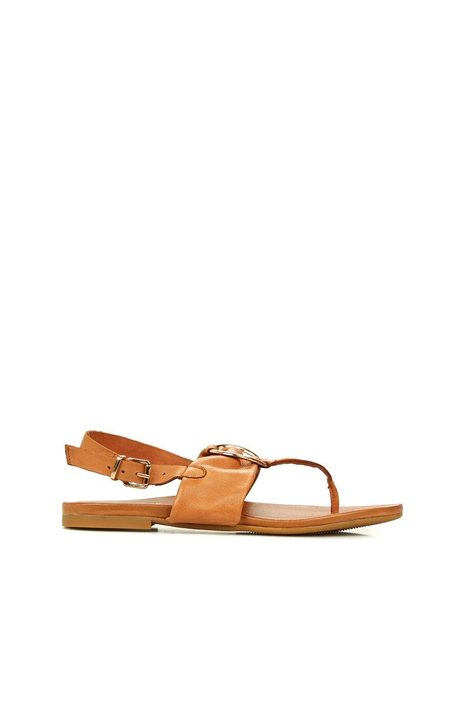 Taba Toka Detaylı Kadın Deri Sandalet
