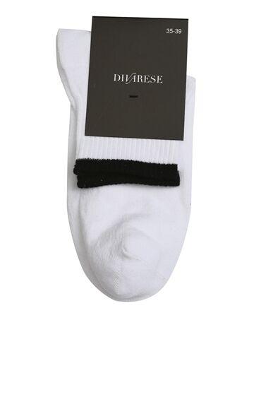 Beyaz Siyah Coton Mix Kadın Çorap