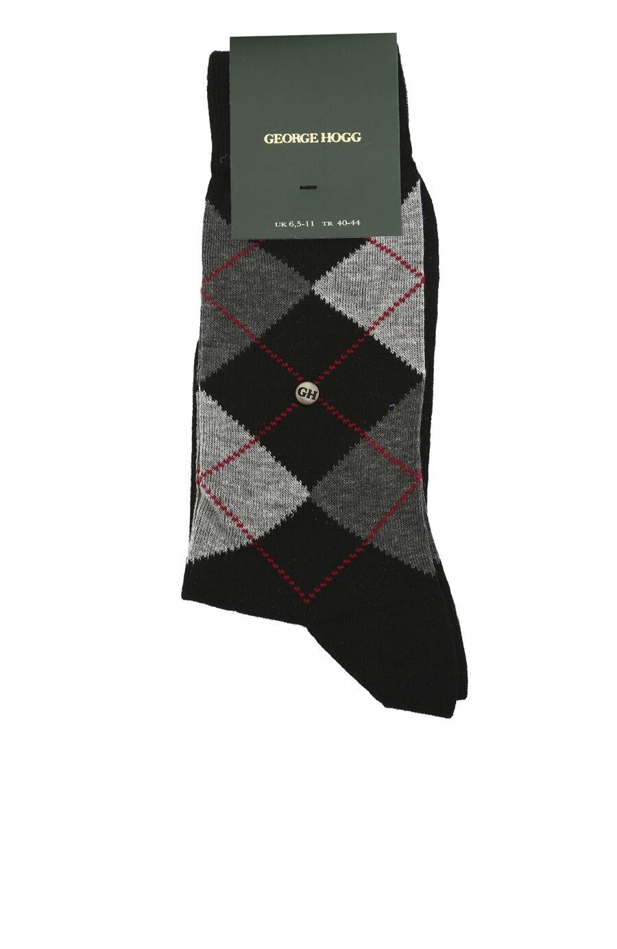 Siyah Gri Baklava Desenli Erkek Çorap