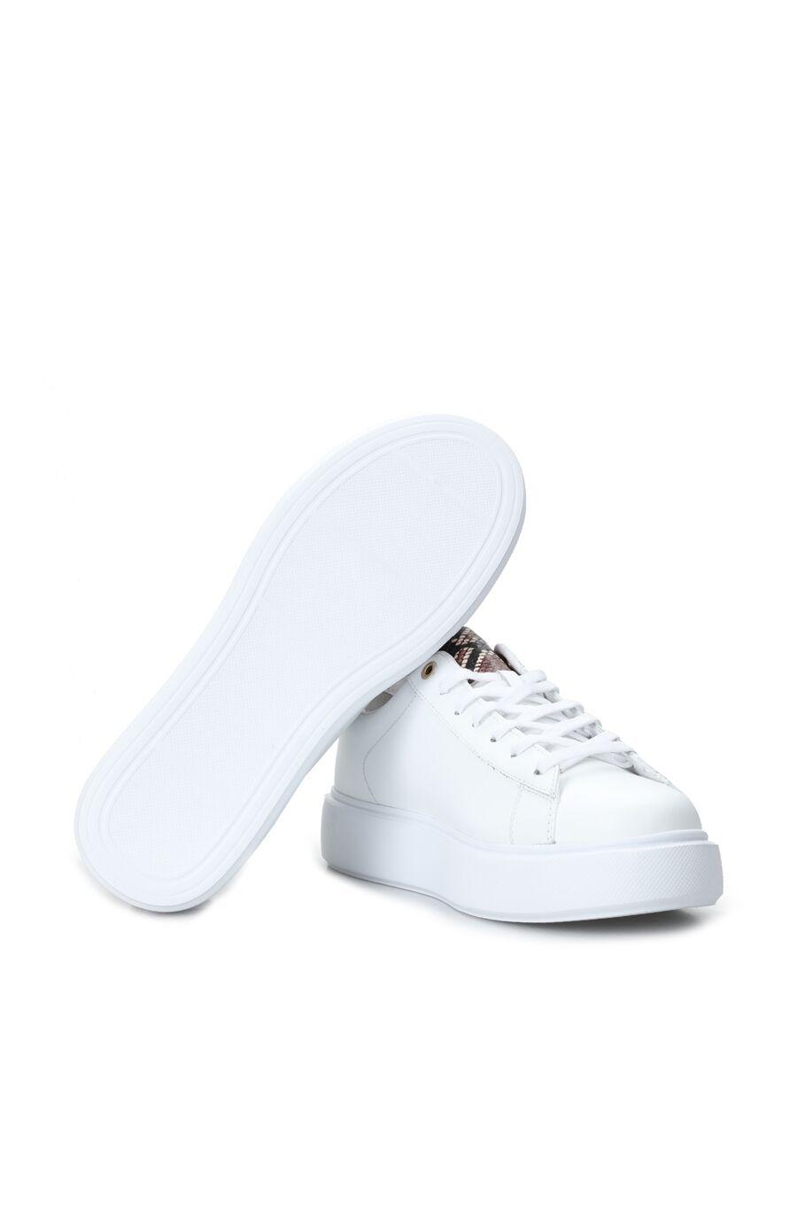 Beyaz Desen Detayı Kadın Deri Sneaker