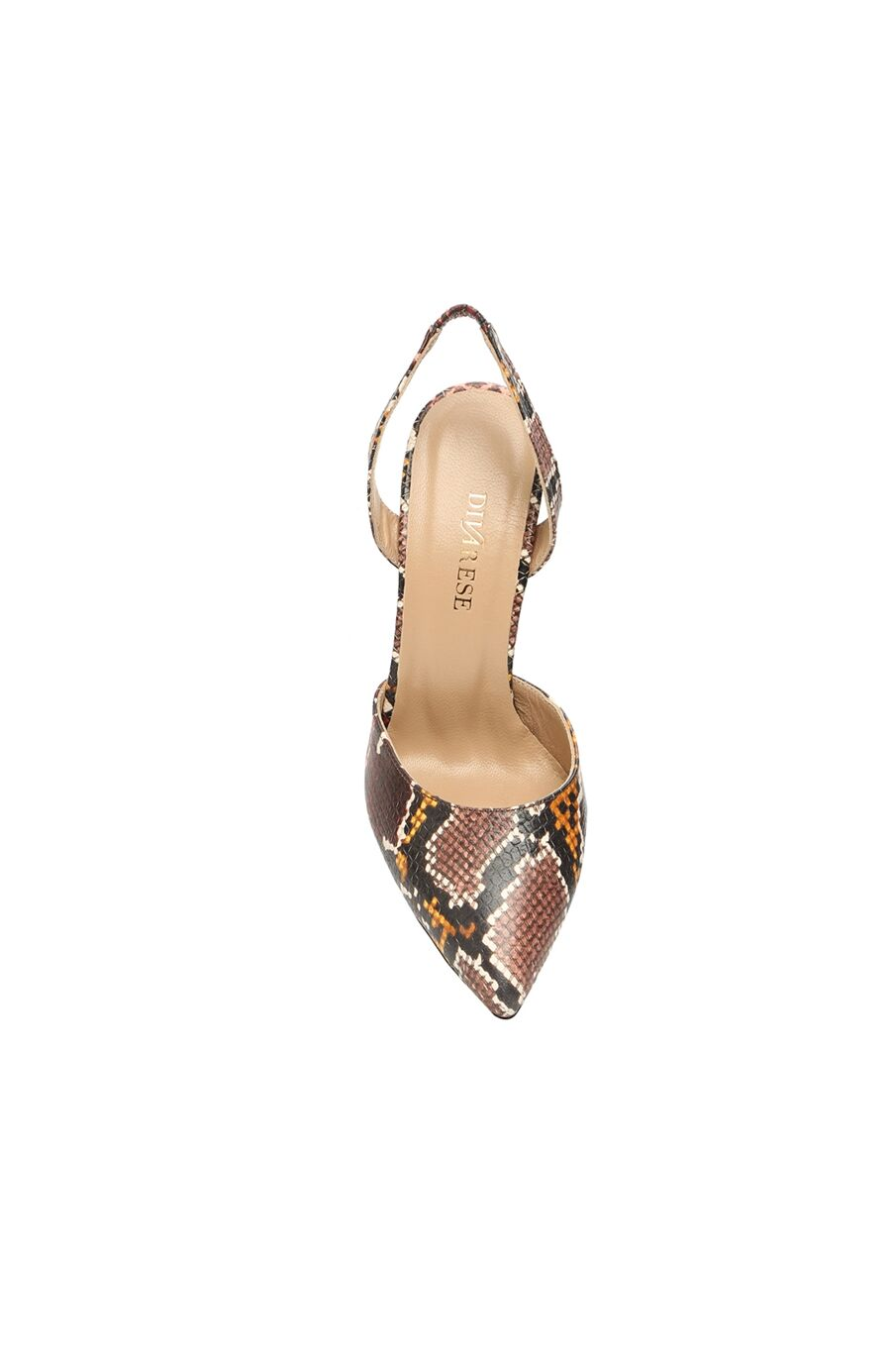 Kadın Kahverengi Yılan Desenli Deri Topuklu Ayakkabı