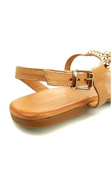 Vizon Trok Detaylı Kadın Deri Sandalet