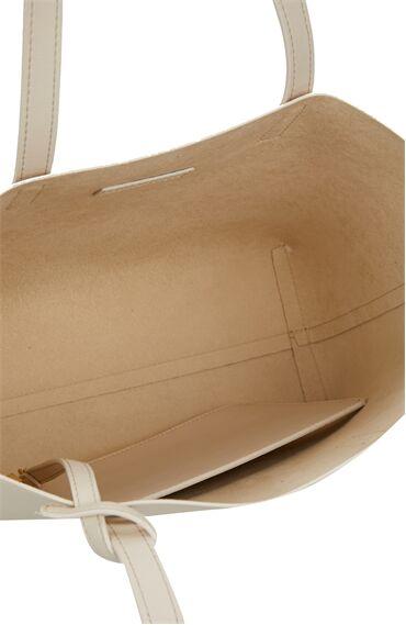 Krem Logo Detaylı Kadın Çanta