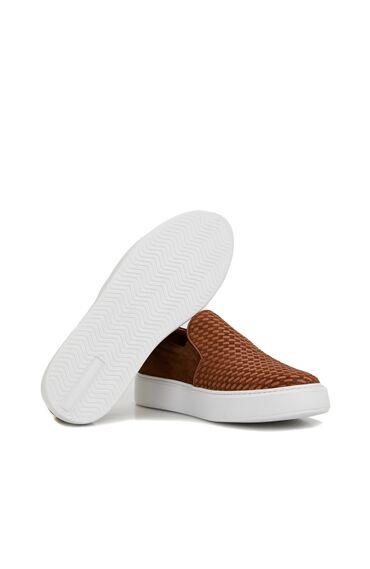 Taba Örgü Dokulu Erkek Deri Sneaker