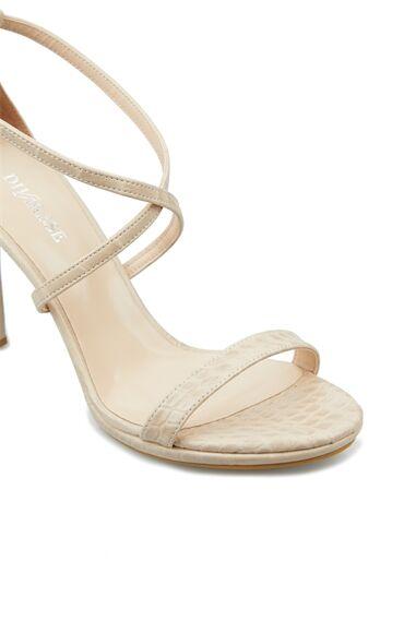 Bej Krokodil Dokulu Kadın Sandalet