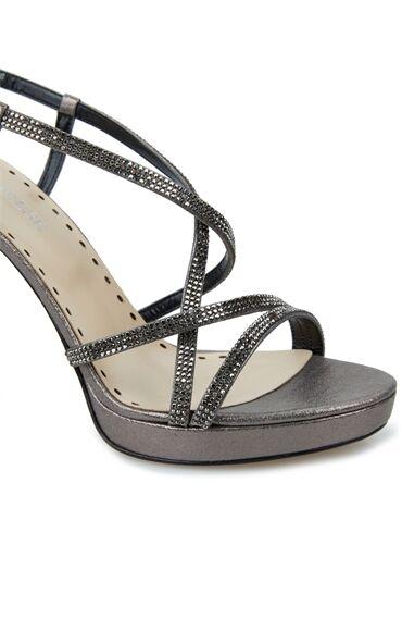Kadın Silver Taşlı Bantlı Topuklu Ayakkabı
