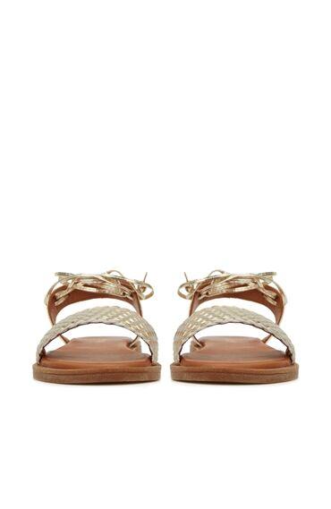 Gold Örgü Dokulu Kadın Sandalet