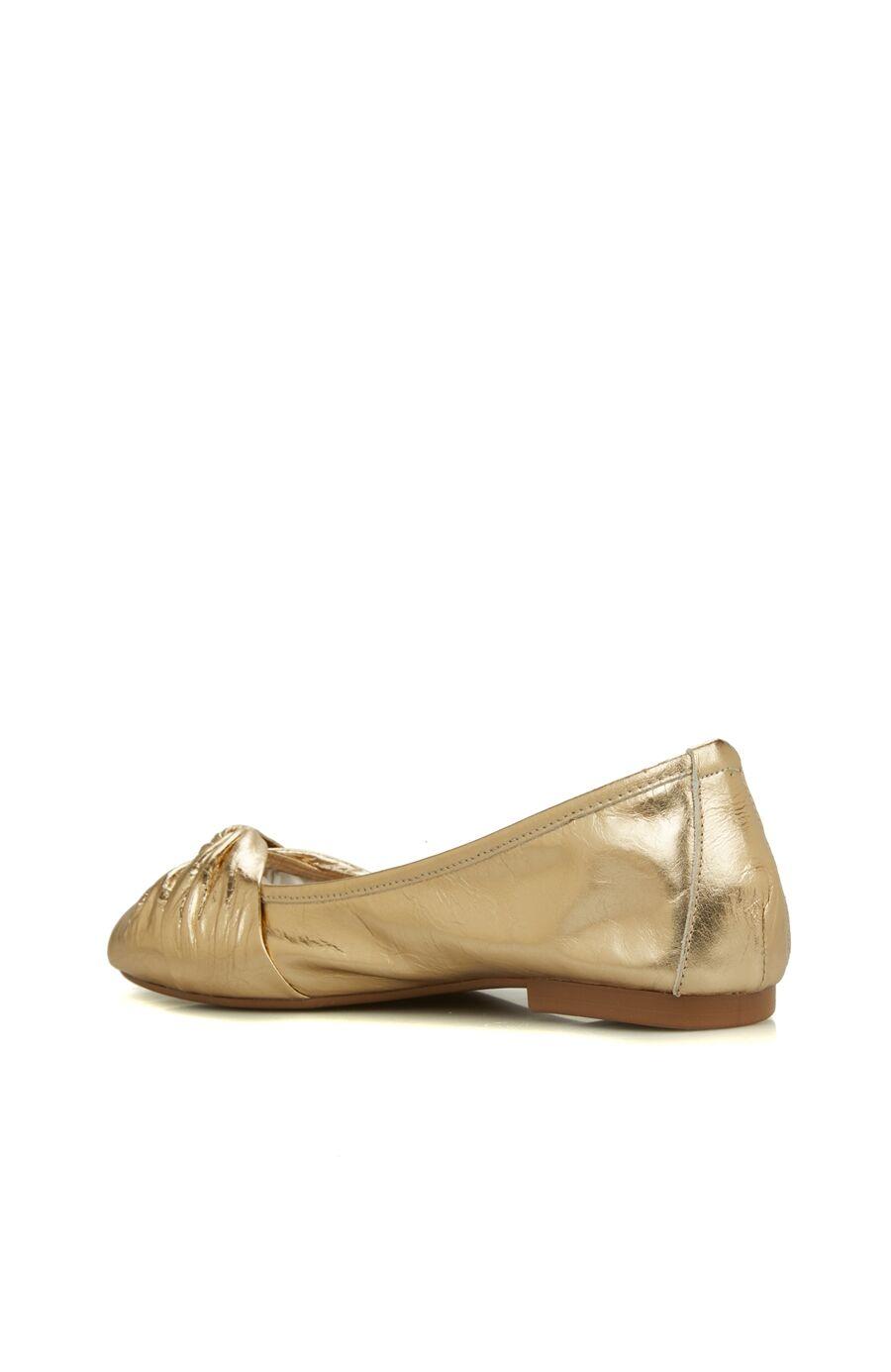Gold Drapeli Bantlı Kadın Deri Babet