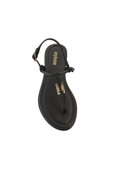 Siyah Kadın Deri Sandalet