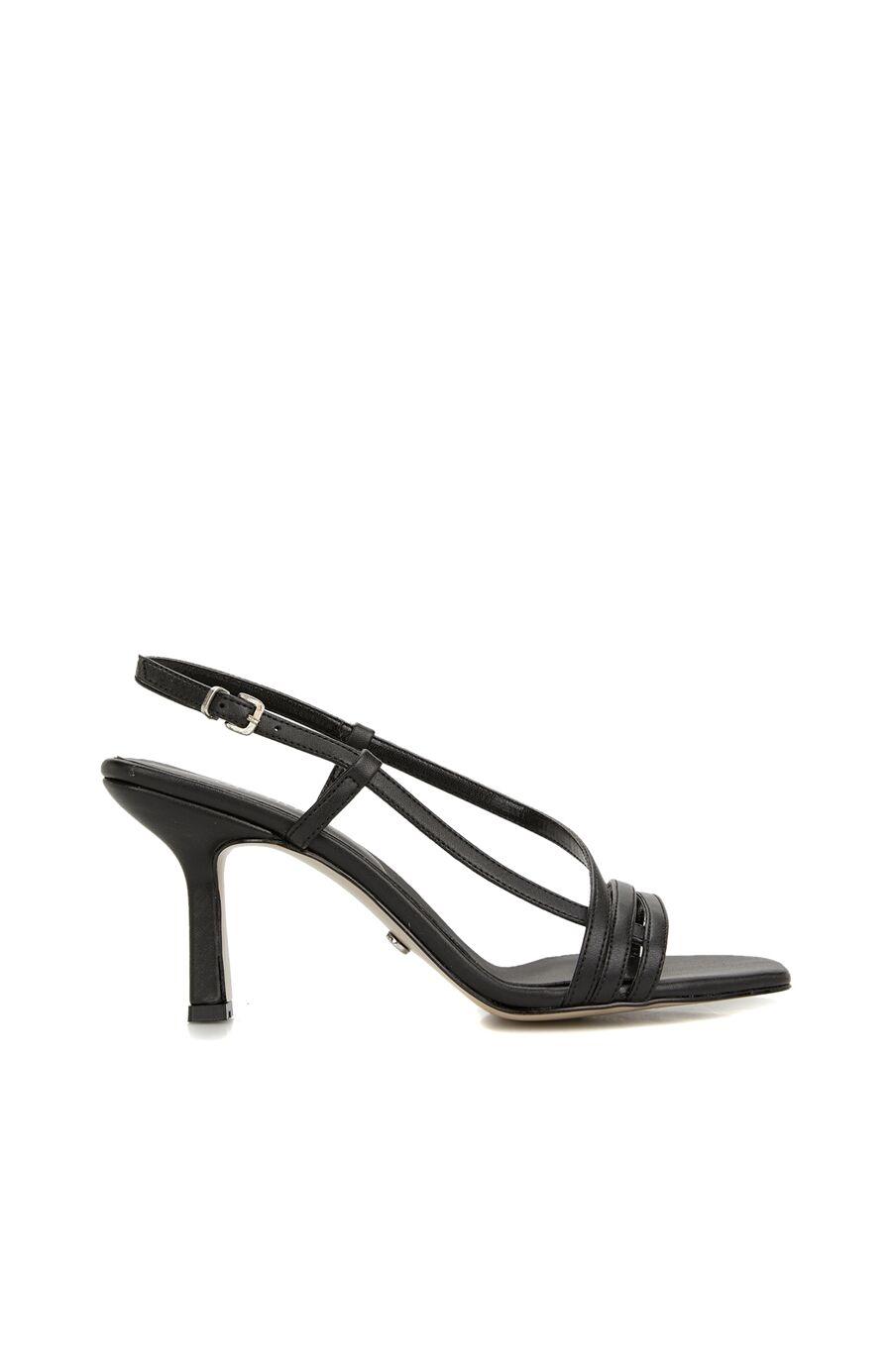 Siyah Toka Detaylı Topuklu Sandalet