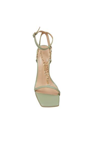 Dcey X Divarese Grace Yeşil Zincir Detaylı Kadın Deri Sandalet