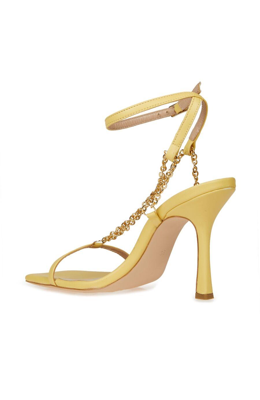 Dcey X Divarese Grace Sarı Zincir Detaylı Kadın Deri Sandalet
