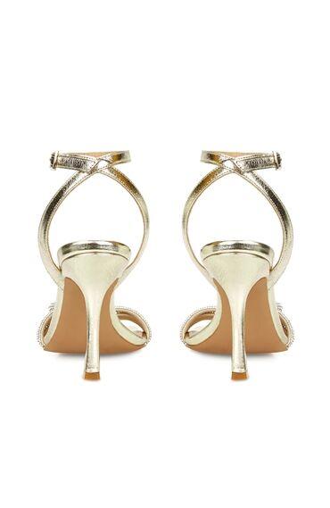 DCEY x Divarese Parma Altın Rengi Taşlı Sandalet