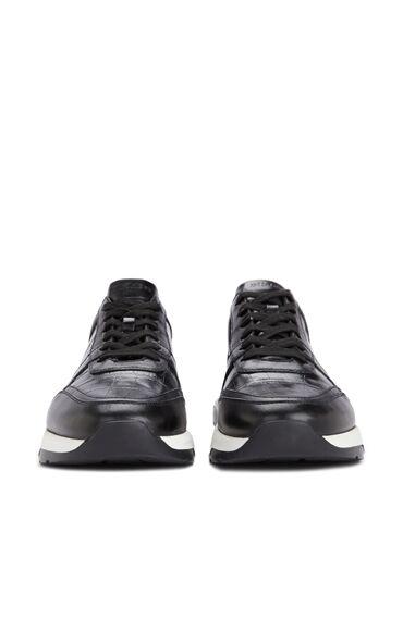 Siyah Dokulu Erkek Deri Sneaker