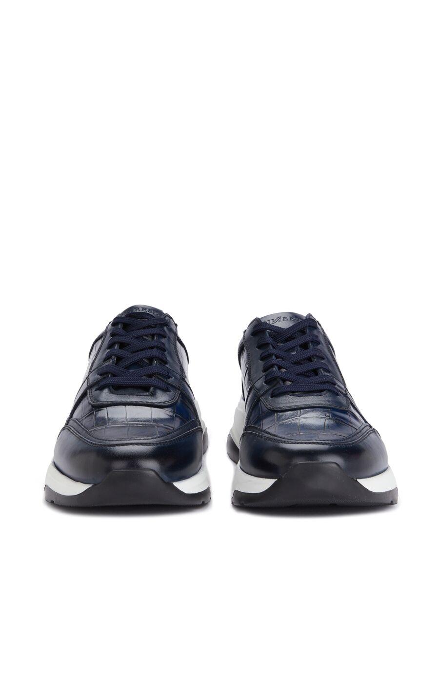 Lacivert Dokulu Erkek Deri Sneaker