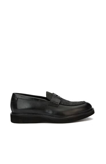 Siyah Doku Detaylı Erkek Loafer