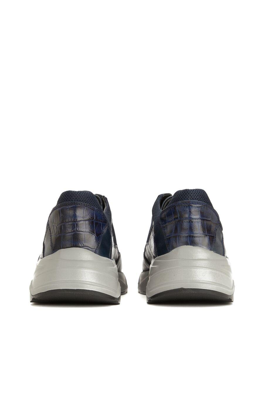 Lacivert Krokodil Doku Detaylı Erkek Süet Sneaker