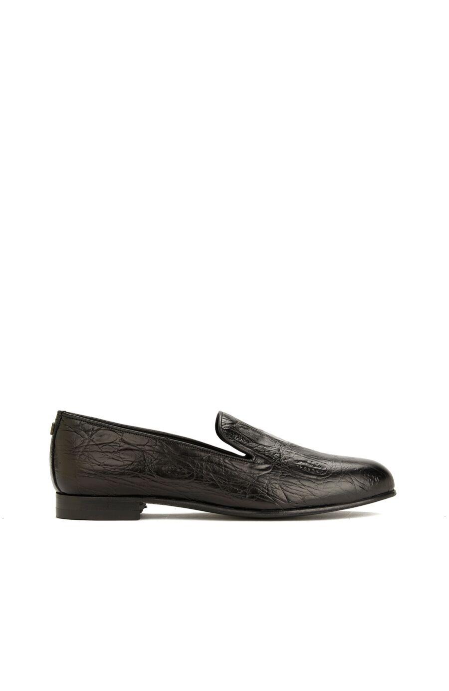 Siyah Desenli Kadın Deri Loafer