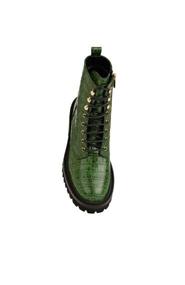 Yeşil Krokodil Dokulu Kadın Deri Bot