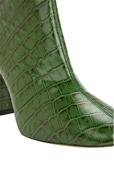 Yeşil Krokodil Dokulu Topuklu Deri Bot