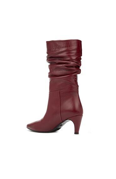 Bordo Büzgülü Topuklu Kadın Deri Çizme