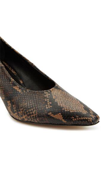 Vizon Yılan Desenli Kadın Deri Ayakkabı